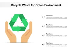 Recycle Waste For Green Environment Ppt PowerPoint Presentation File Clipart PDF