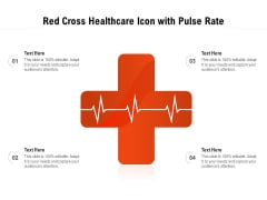 Red Cross Healthcare Icon With Pulse Rate Ppt PowerPoint Presentation Gallery Infographic Template PDF
