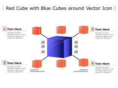 Red Cube With Blue Cubes Around Vector Icon Ppt PowerPoint Presentation File Format Ideas PDF
