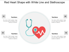 Red Heart Shape With White Line And Stethoscope Ppt PowerPoint Presentation Infographics Graphics