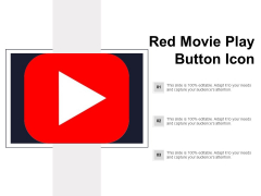 Red Movie Play Button Icon Ppt PowerPoint Presentation Show Slide Download