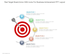 Red Target Board Arrow With Icons For Business Achievement Ppt PowerPoint Presentation Example 2015