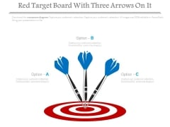 Red Target Board With Three Arrows On It Powerpoint Slides