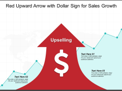 Red Upward Arrow With Dollar Sign For Sales Growth Ppt PowerPoint Presentation Inspiration Clipart Images