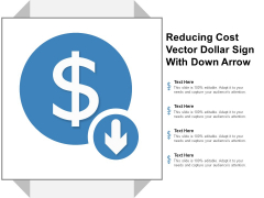 Reducing Cost Vector Dollar Sign With Down Arrow Ppt Powerpoint Presentation Model Outline