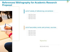 References Bibliography For Academic Research Proposal Ppt PowerPoint Presentation Icon Example