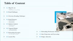 Remarketing Strategies For Effective Brand Placement Table Of Content Ppt Gallery Inspiration PDF