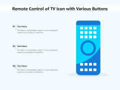 Remote Control Of TV Icon With Various Buttons Ppt PowerPoint Presentation File Example PDF