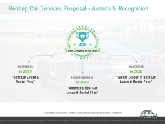 Renting Car Services Proposal Awards And Recognition Ppt Ideas Sample PDF
