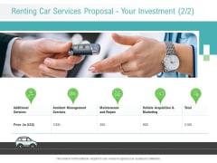 Renting Car Services Proposal Your Investment Price Ppt Styles Icon PDF