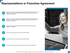 Representations In Franchise Agreement Ppt PowerPoint Presentation Professional Graphics Example