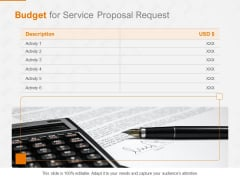 Request Corporate Work Budget For Service Proposal Request Ppt Visual Aids Example File PDF