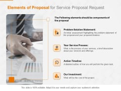 Request Corporate Work Elements Of Proposal For Service Proposal Request Ppt Icon Slide Portrait PDF