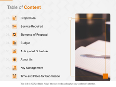 Request Corporate Work Table Of Content Ppt Slides Styles PDF