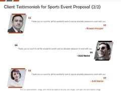 Request For Sporting Client Testimonials For Sports Event Proposal Ppt Infographic Template Examples PDF