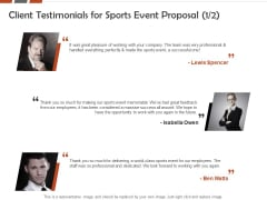 Request For Sporting Client Testimonials For Sports Event Proposal Professional Ppt File Examples PDF