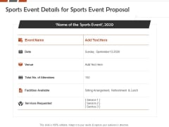 Request For Sporting Sports Event Details For Sports Event Proposal Ppt Summary Sample PDF