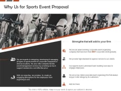 Request For Sporting Why Us For Sports Event Proposal Ppt Outline Files PDF