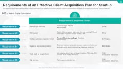 Requirements Of An Effective Client Acquisition Plan For Startup Formats PDF