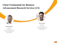 Research Advancement Services Client Testimonials For Business Advancement Research Services Inspiration PDF