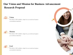 Research Advancement Services Our Vision And Mission For Business Advancement Research Proposal Themes PDF