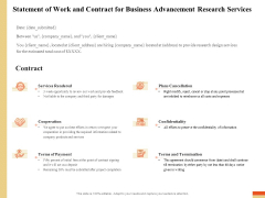 Research Advancement Services Statement Of Work And Contract For Business Advancement Research Services Sample PDF