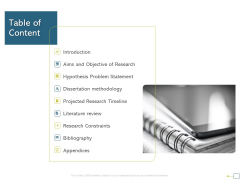 Research Proposal For A Dissertation Or Thesis Table Of Content Elements PDF