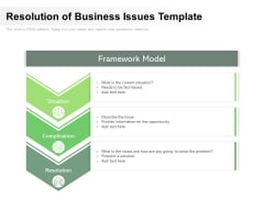 Resolution Of Business Issues Template Ppt PowerPoint Presentation Gallery Graphics Template PDF