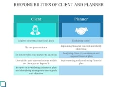 Responsibilities Of Client And Planner Ppt PowerPoint Presentation Guide