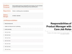 Responsibilities Of Product Manager With Core Job Roles Ppt PowerPoint Presentation Samples PDF