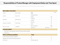 Responsibilities Of Product Manager With Employment Status And Time Spent Ppt PowerPoint Presentation Show Inspiration PDF