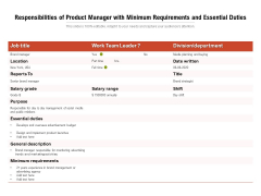 Responsibilities Of Product Manager With Minimum Requirements And Essential Duties Ppt PowerPoint Presentation Inspiration Guidelines PDF