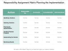 Responsibility Assignment Matrix Planning The Implementation Ppt PowerPoint Presentation Gallery Example Introduction