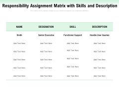 Responsibility Assignment Matrix With Skills And Description Ppt PowerPoint Presentation Ideas Visuals