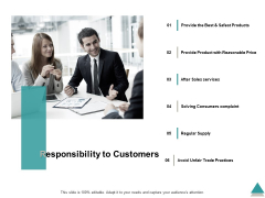 Responsibility To Customers Ppt PowerPoint Presentation Infographic Template Ideas