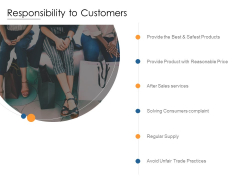 Responsibility To Customers Ppt PowerPoint Presentation Outline Example