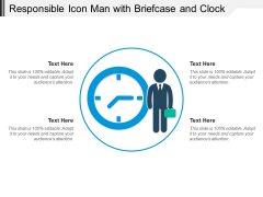 Responsible Icon Man With Briefcase And Clock Ppt PowerPoint Presentation Gallery Shapes PDF