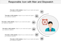 Responsible Icon With Man And Stopwatch Ppt PowerPoint Presentation File Background Image PDF