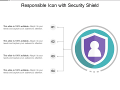 Responsible Icon With Security Shield Ppt PowerPoint Presentation File Background Image PDF