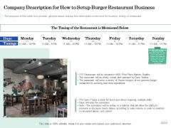 Restaurant Business Setup Business Plan Company Description For How To Setup Burger Restaurant Business Structure PDF