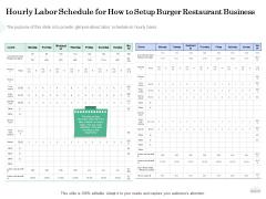 Restaurant Business Setup Plan Hourly Labor Schedule For How To Setup Burger Restaurant Business Inspiration PDF