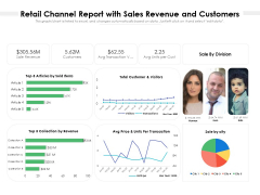 Retail Channel Report With Sales Revenue And Customers Ppt PowerPoint Presentation Icon Ideas PDF