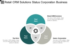 Retail Crm Solutions Status Corporation Business Gift Promotional Ppt PowerPoint Presentation Show Graphics Download Cpb