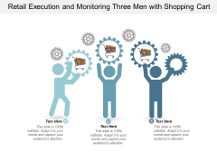 Retail Execution And Monitoring Three Men With Shopping Cart Ppt Powerpoint Presentation Portfolio Introduction