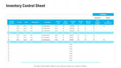 Retail Industry Outlook Inventory Control Sheet Microsoft PDF