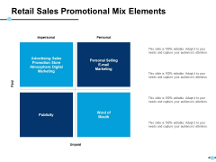 Retail Sales Promotional Mix Elements Personal Selling E Mail Marketing Ppt PowerPoint Presentation Infographics Background Designs