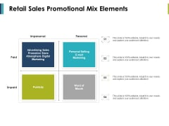 Retail Sales Promotional Mix Elements Ppt PowerPoint Presentation Infographic Template Outfit