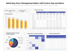 Retail Shop Stock Management Metrics With Product Sale And Return Ppt PowerPoint Presentation Infographic Template Samples PDF