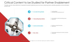 Retailer Channel Partner Boot Camp Critical Content To Be Studied For Partner Enablement Pictures PDF