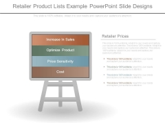 Retailer Product Lists Example Powerpoint Slide Designs